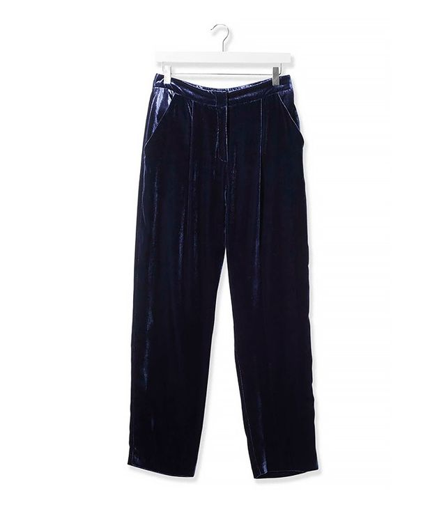 Topshop Boutique Velvet Wide Leg Trousers