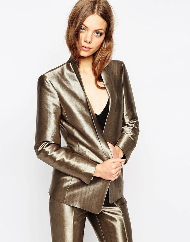 ASOS Premium Slim 70s Jacket in Metallic Co-ord
