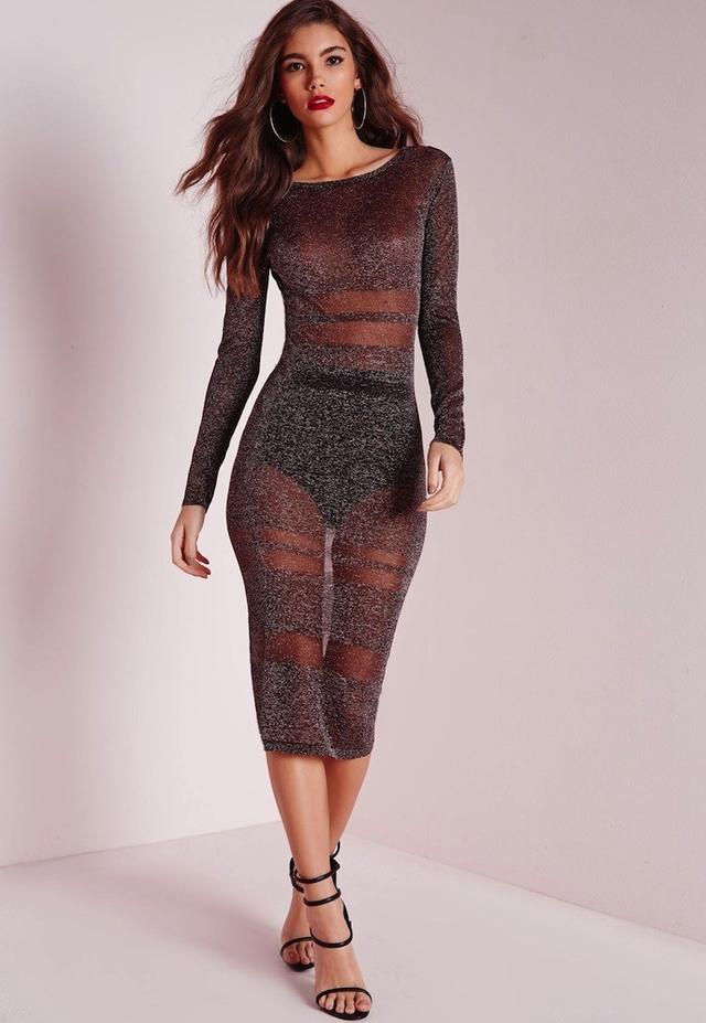 Missguided Deep V Back Sheer Metallic Midi Dress