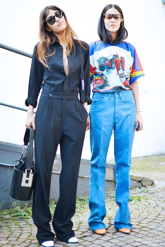 On Patricia Manfield: Costume National top, trousers, and bag. On Gilda Ambrosio:Loewe Filippa Sunglasses(£295), top, and trousers.