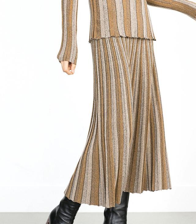 Zara Two-Tone Pleated Skirt