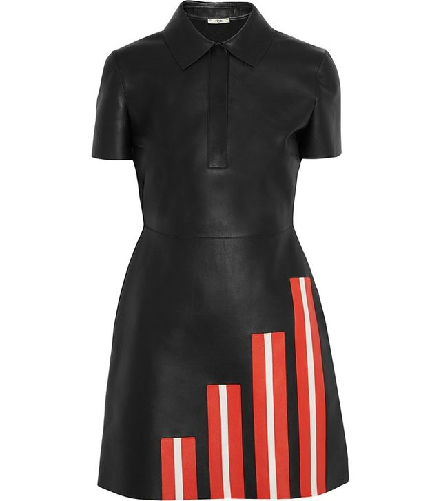 Fendi Striped Leather Mini Dress