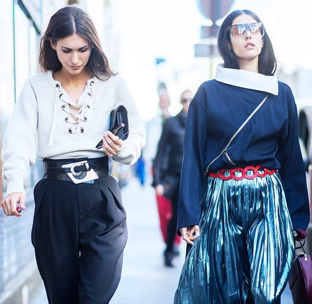 On Diletta Bonaiuti: Isabel Marant Lace-Up Top(£435). On Gilda Ambrosio: Loewe Filippa Sunglasses(£295), Zip Panel Sweater(£1314),Metallic Silk Skirt...