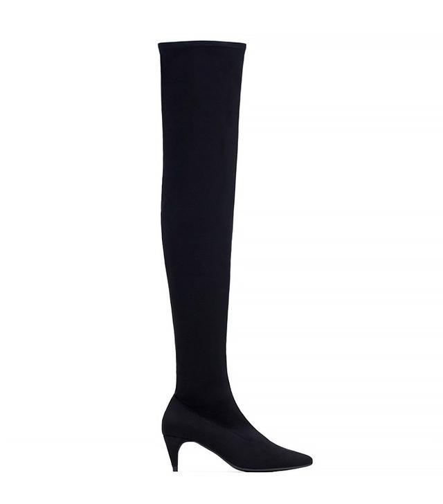Zara Over The Knee Kitten Heel Boots