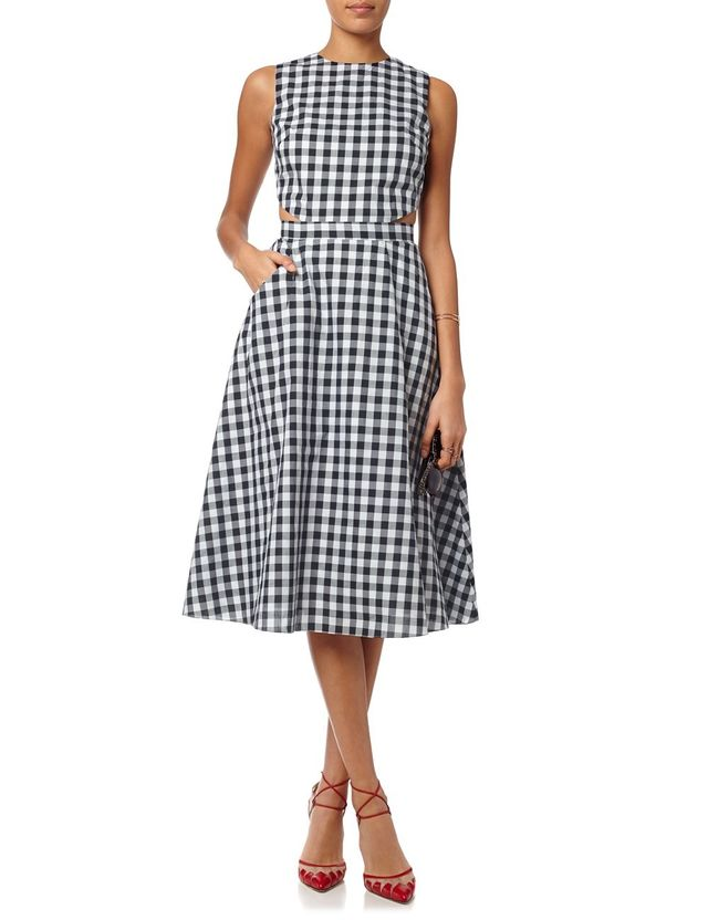 Tanya Taylor Black Cotton Monica Gingham Dress