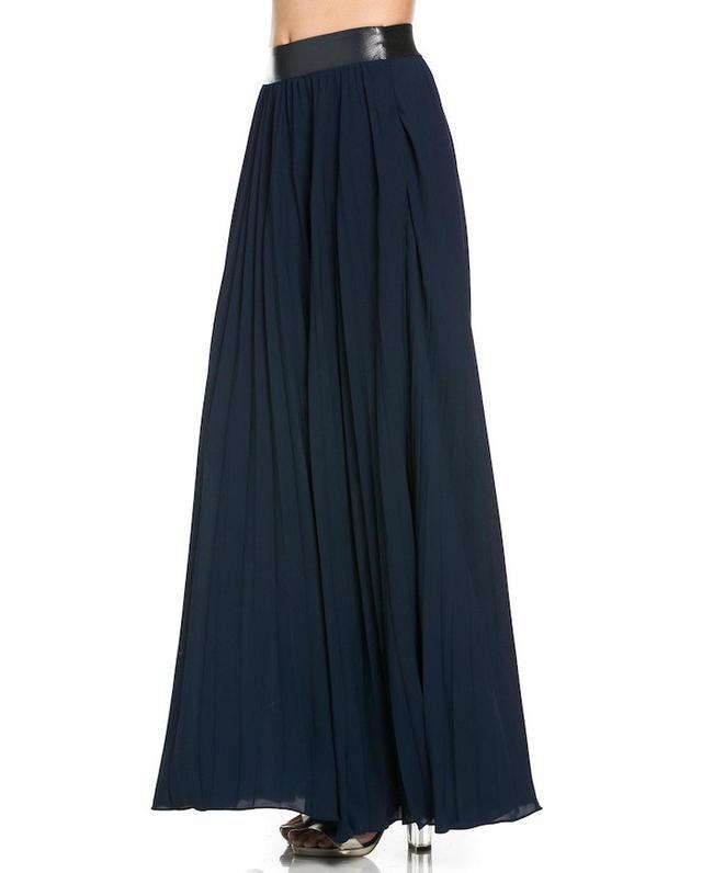 MHGS Navy Pleated Maxi Skirt