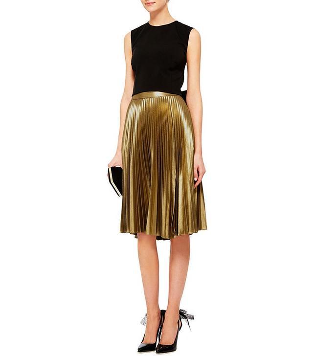 A.L.C. Metallic Pleated Gates Midi Skirt