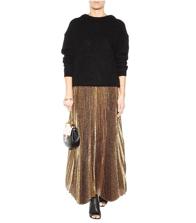 Alice + Olivia Pleated Metallic Silk-Blend Skirt