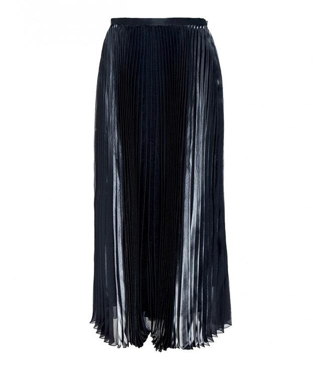 Mason by Michelle Mason Pleated Metallic Silk Midi Skirt