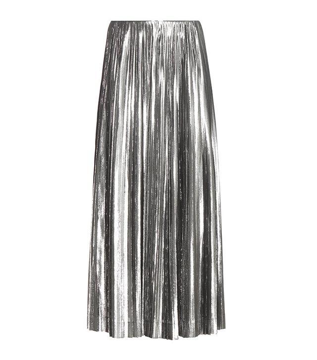 Loewe Metallic Silk-Blend Pleated Skirt