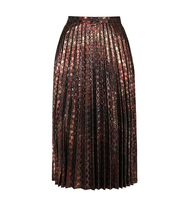 Topshop Brocade Pleat Midi Skirt