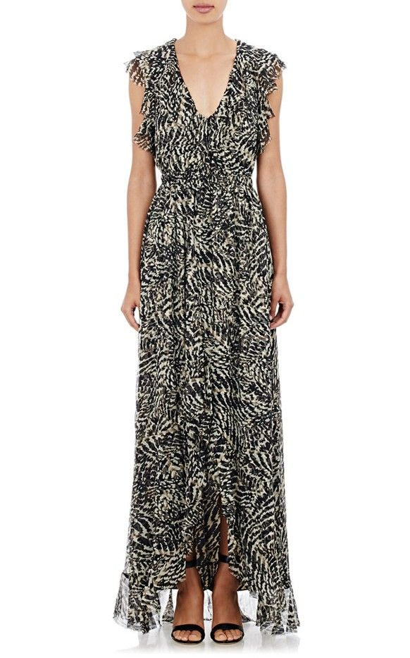 L'Agence Sophie Long V-Neck Flutter Dress