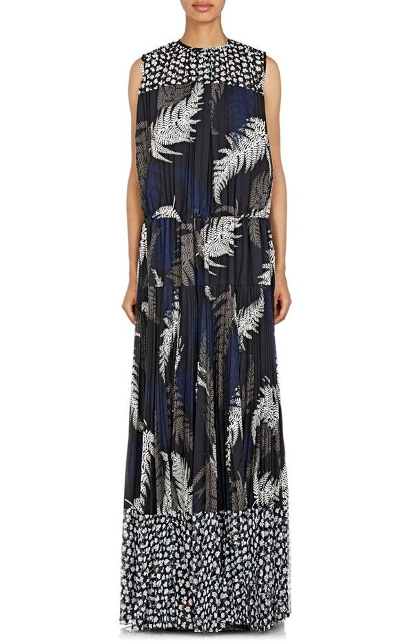 Sacai Mixed-Print Pleated Dress