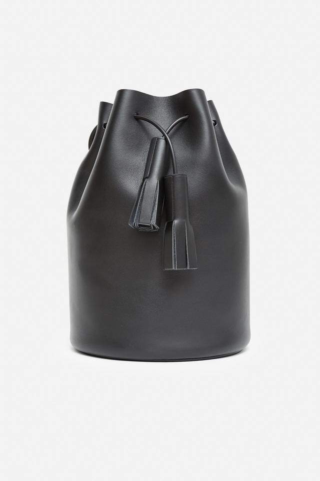 Building Block Leather Tassel Bucket Bag