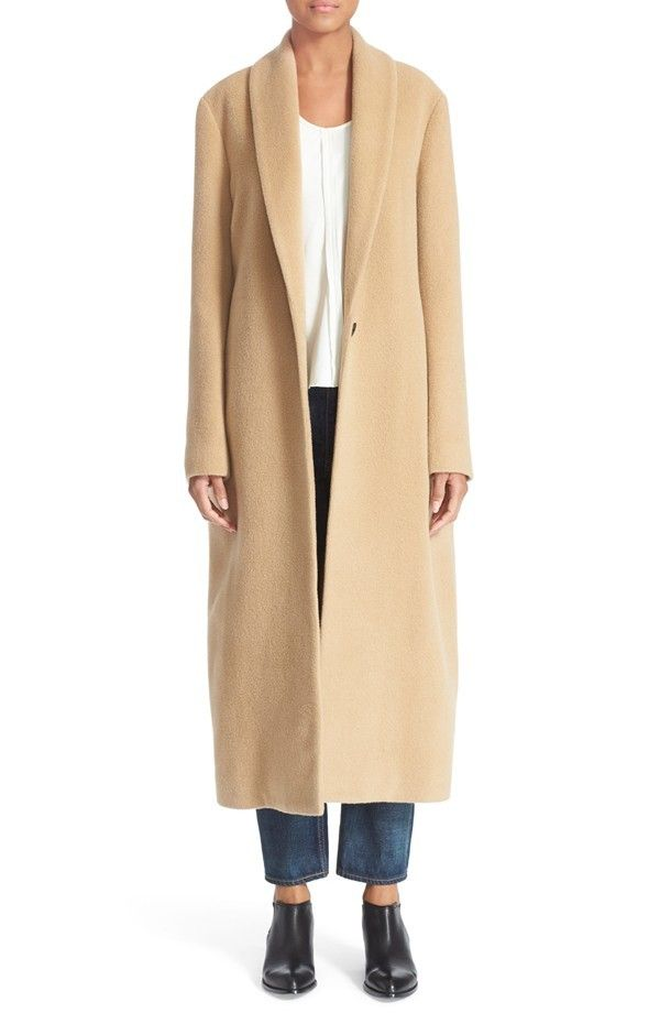 T by Alexander Wang Shawl Collar Virgin Wool and Mohair Blend Coat