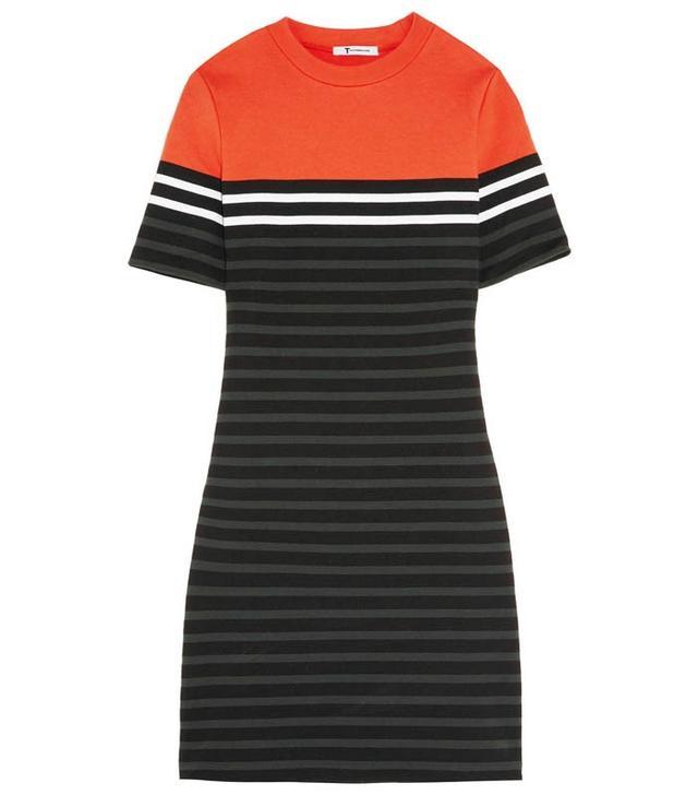 T by Alexander Wang Striped Stretch-Cotton Ponte Mini Dress