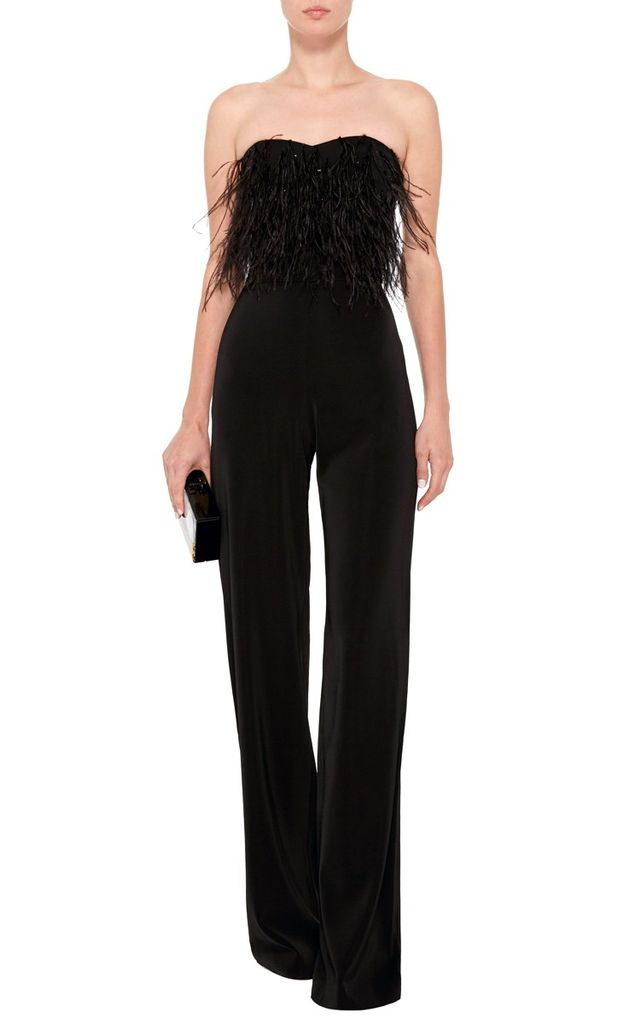Saloni Aurelie Strapless Feathered Jumpsuit
