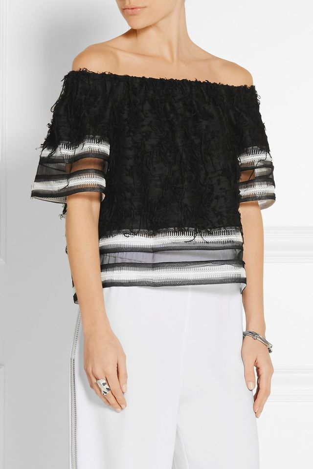Jonathan Simkhai Fringed Off-the-Shoulder Woven Top