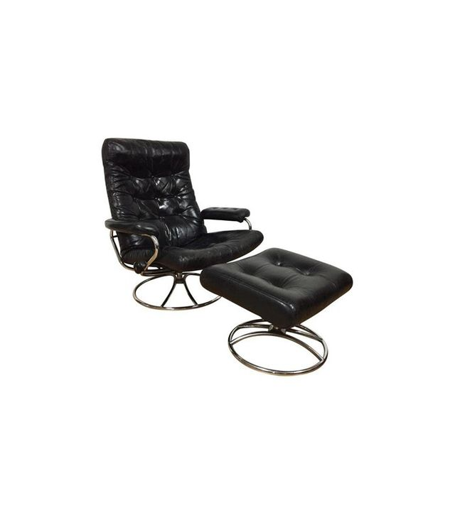 Ekornes Black Leather Lounge Chair & Ottoman