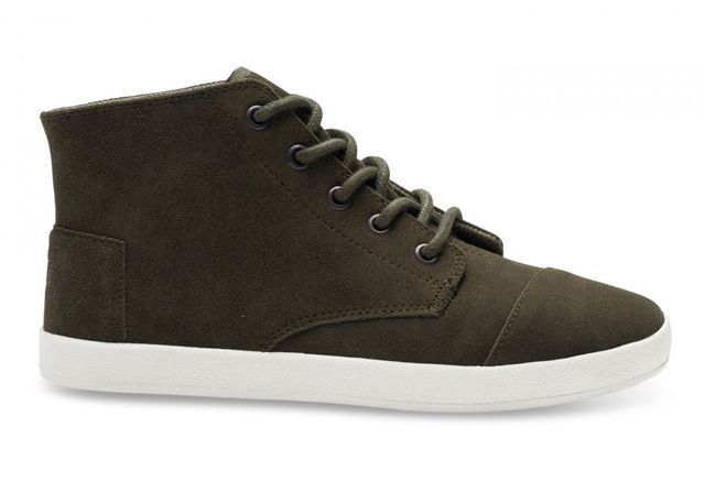 Toms Tarmac Olive Suede Paseo High Tops