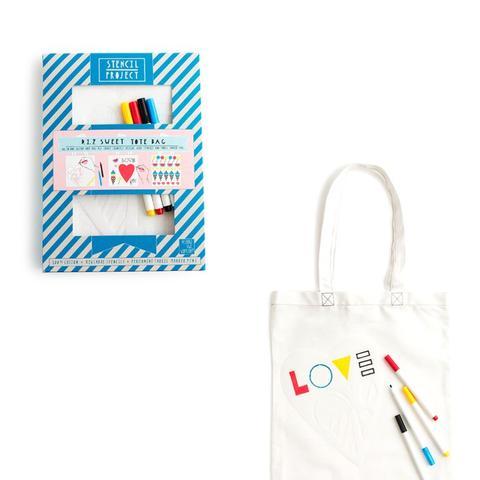 Sweet Tote Bag Stencil Kit