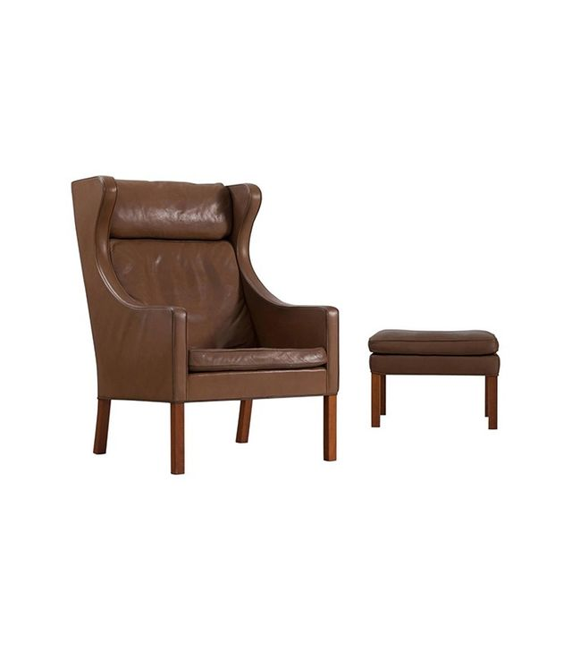 Borge Mogensen Brown Leather Wingback Chair