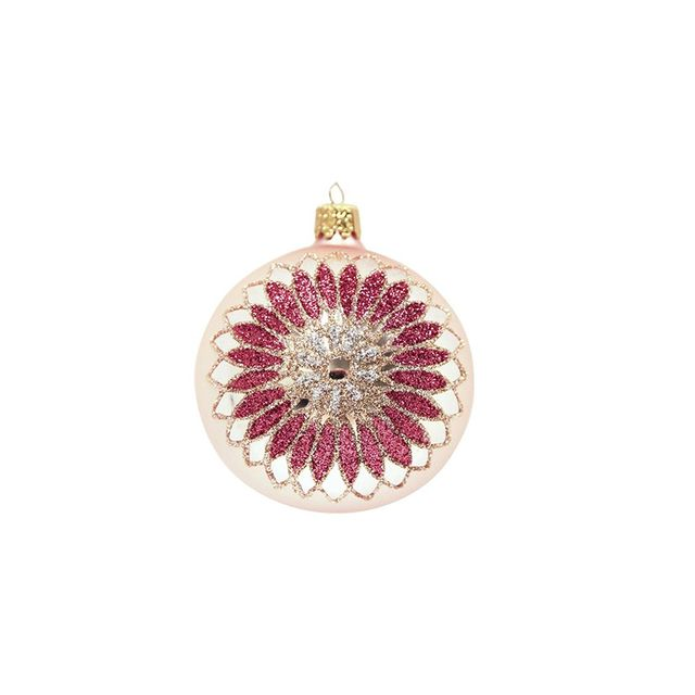 Christmas Shop Pink Bauble With Flower
