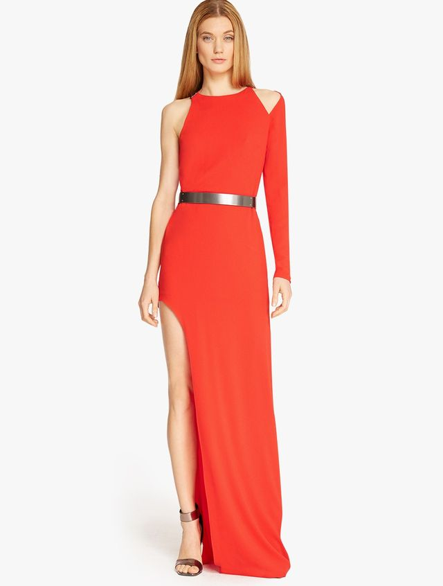 Halston Asymmetrical Sleeve Gown with Hardware Detail