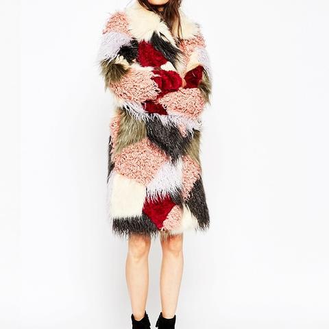 Swing Coat in Patchwork Faux Fur