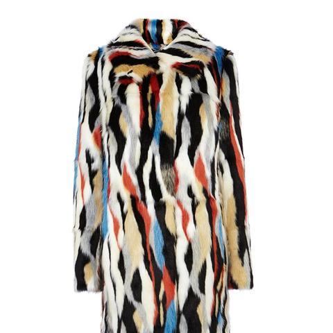 Multi-Coloured Faux Fur Coat