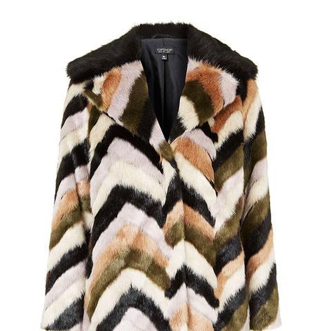 Faux-Fur Contrast Collar Patterned Coat
