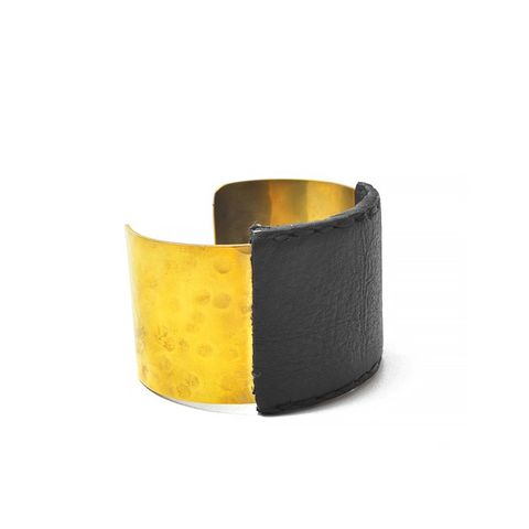 Dune Wide Leather and Brass Cuff