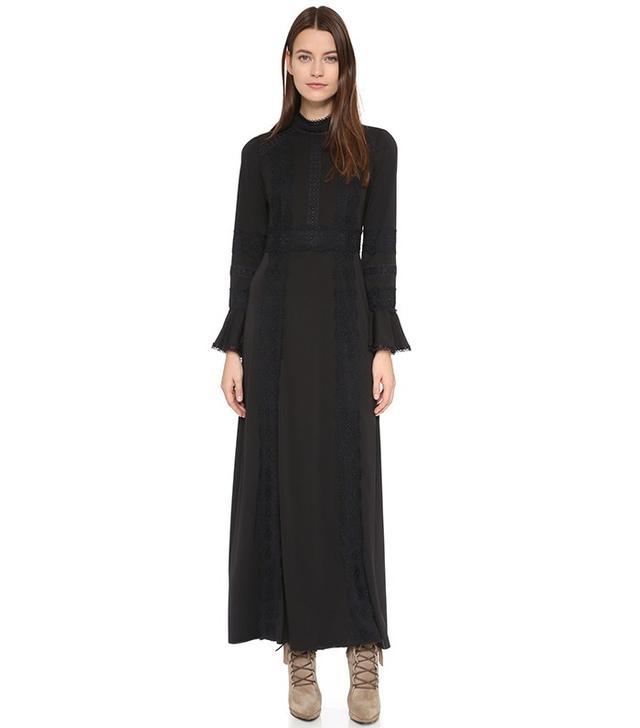 Anna Sui Matte Jersey and Lace Maxi Dress
