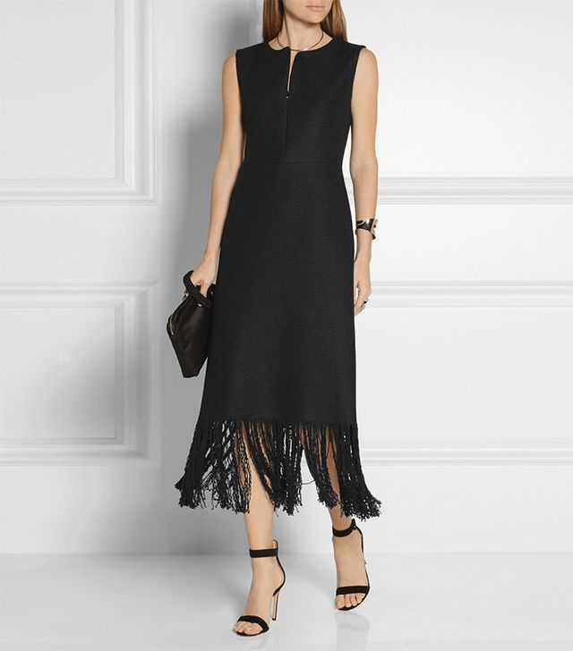 Adam Lippes Fringed Linen and Cotton-Blend Tweed Dress