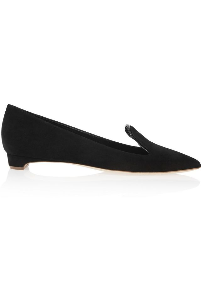 Rupert Sanderson Jocose Patent Leather-Trimmed Suede Point-Toe Flats