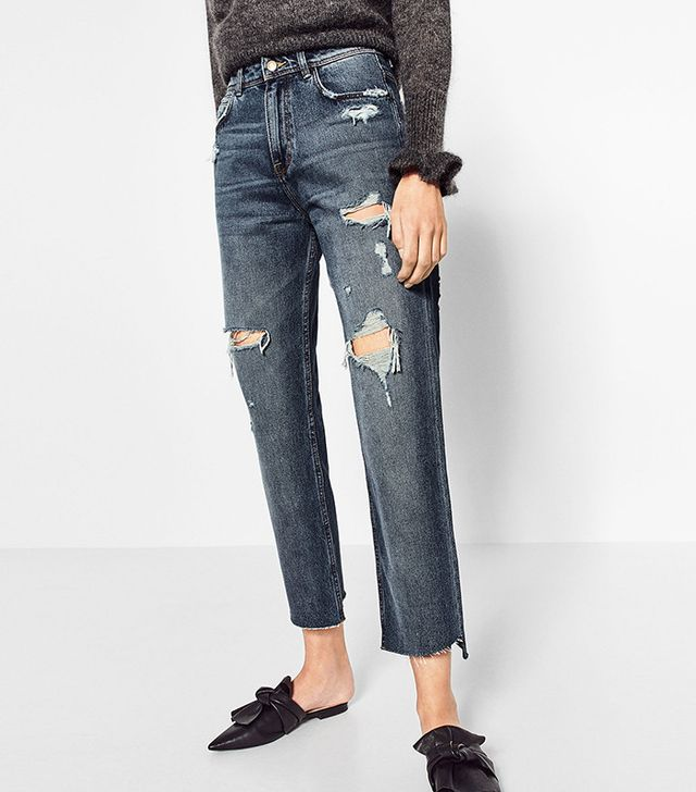Zara Mom Fit Ripped Trousers