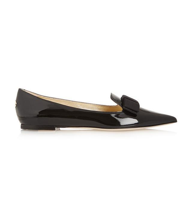 Jimmy Choo Gala Patent-Leather Point-Toe Flats