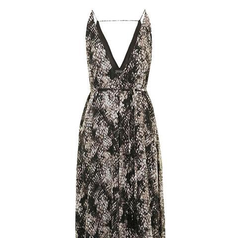 Python Print Deep V Midi Dress