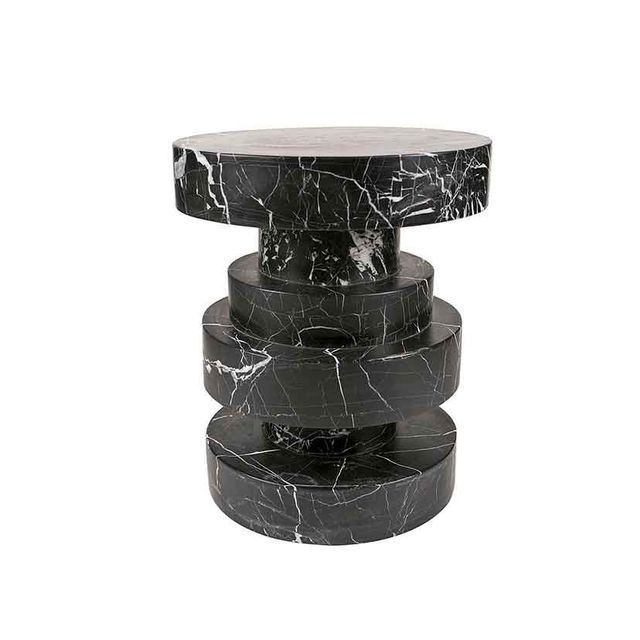 Kelly Wearstler Apollo Stool in Negro Marquina Marble