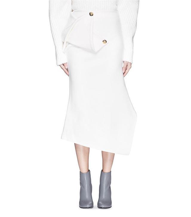Victoria Beckham Twist Drape Wool Felt Kick Midi Skirt