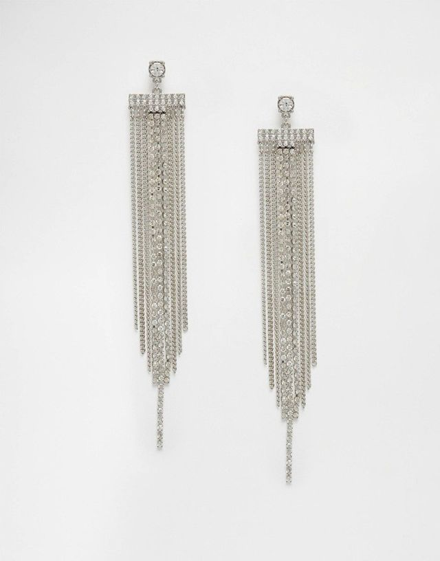 Lipsy Crystal Statement Fringe Earrings