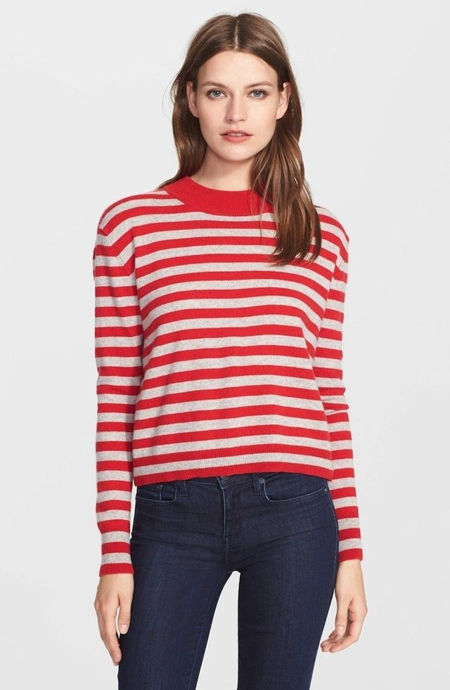 Autumn Cashmere Stripe Mock Neck Cashmere Sweater