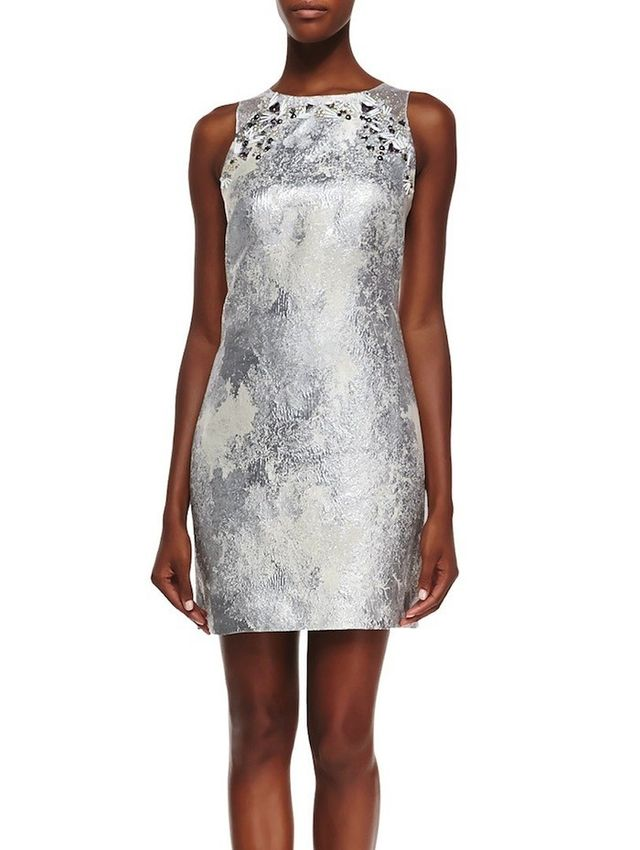 Phoebe Sleeveless Metallic Dress With Beaded Yoke