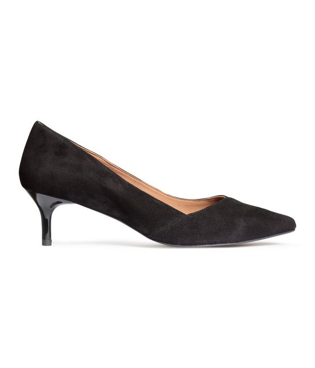 H&M Suede Kitten-heel Pumps