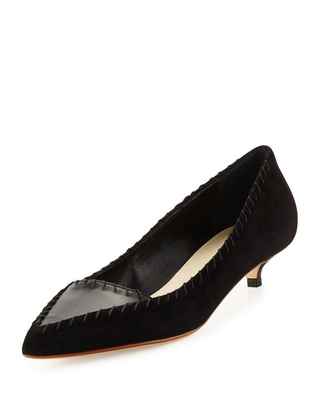 Francesco Russo Suede Kitten-Heel Pumps