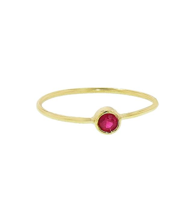 Jennifer Meyer Tiny Ruby Ring in Yellow Gold