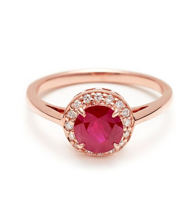 Anna Sheffield Round Rosette Ring in Ruby