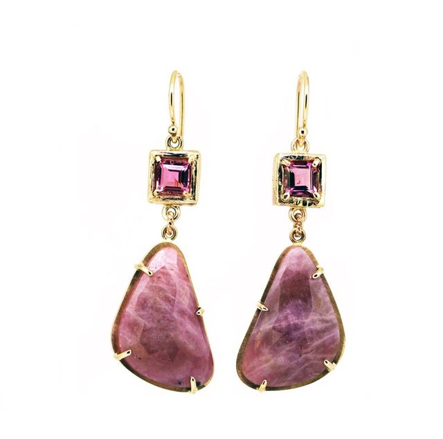 Melissa Harris Tourmaline and Sapphire Earrings