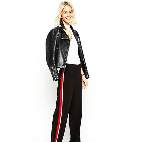 Wide-Leg Pants With Side Stripe