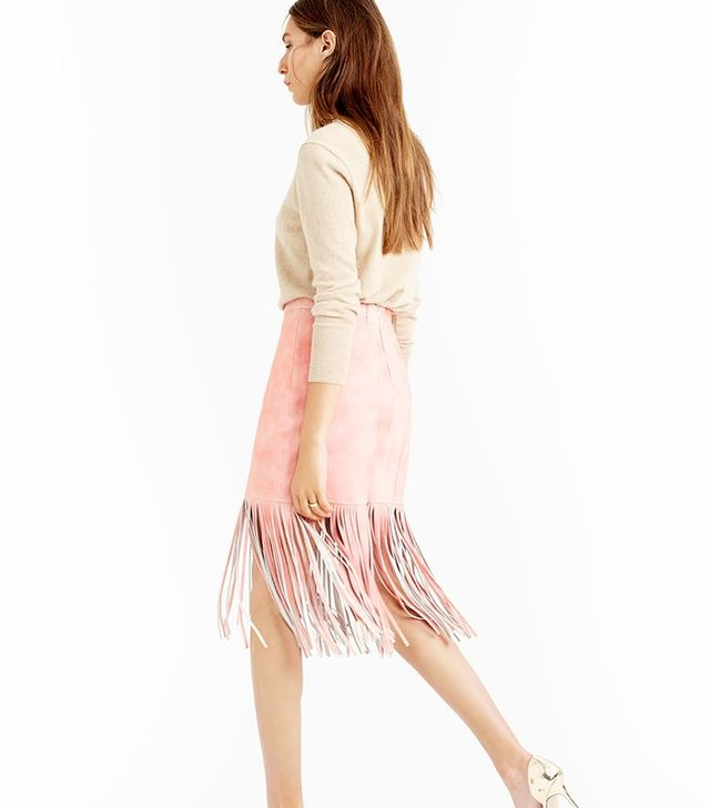 J.Crew Collection Fringed Suede Skirt